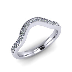 Curved Fitted Bead Set Diamond Band