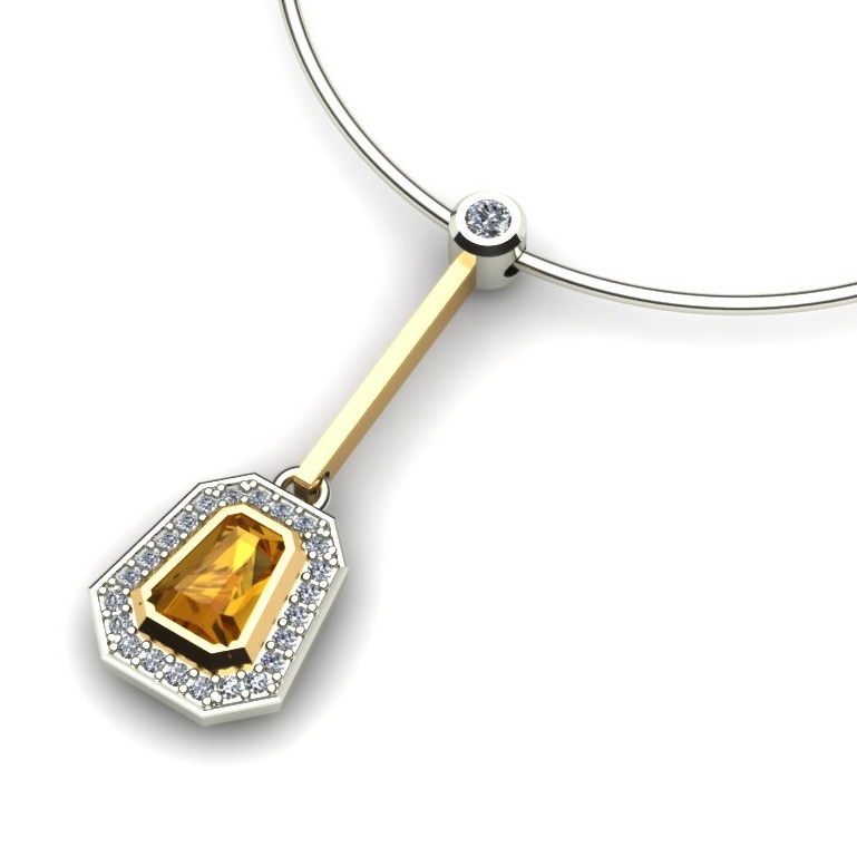 Golden Sapphire and Diamond Halo Bar