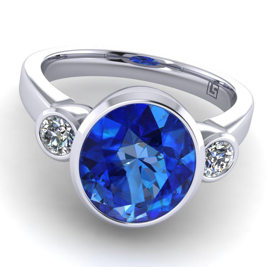 042 GR Oval Ceylon Sapphire & Diamond 3 Stone Bezel Set Platinum White Gold Grant 042 WG 5