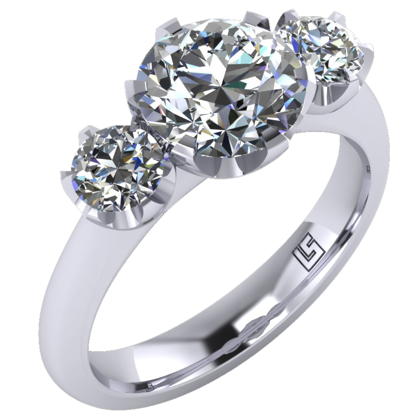 Round Cut Diamond Three Stone Ring