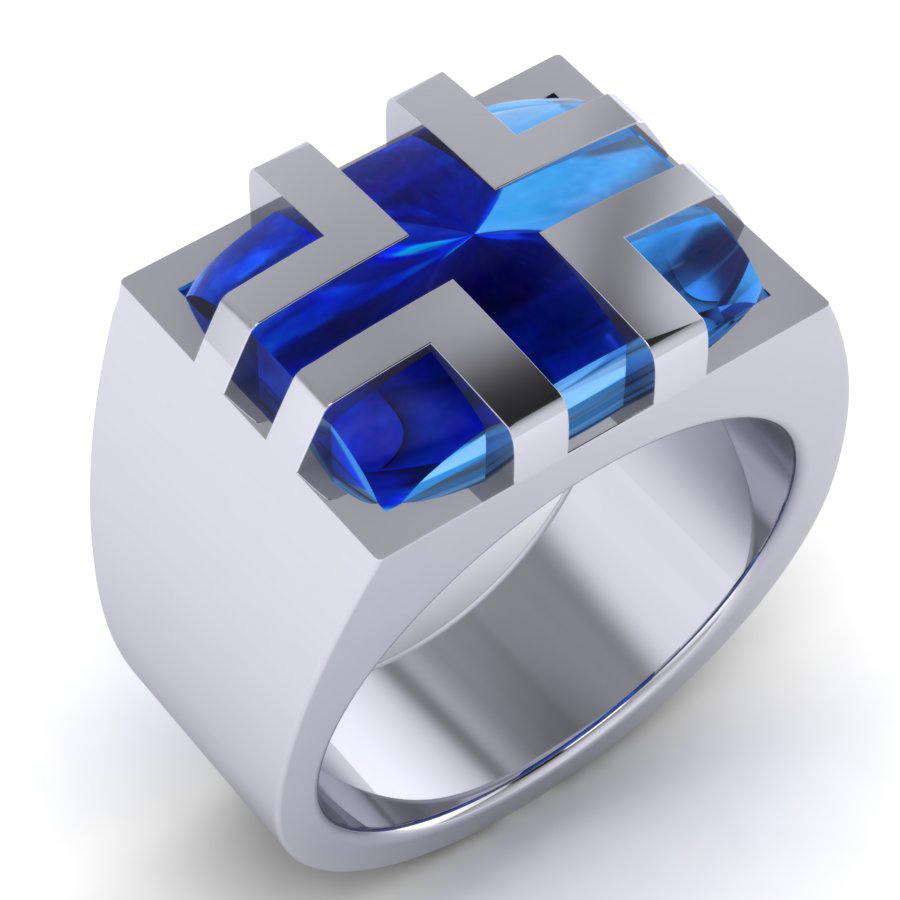 WRG blue cabochon sapphire gents dress ring white gold Pecar WRG WG 1