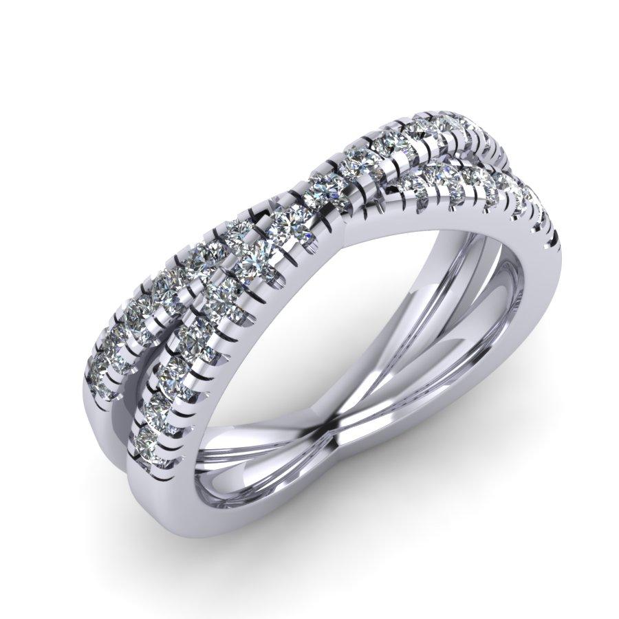 "Micro Claw ""X"" Diamond Wedding Band"