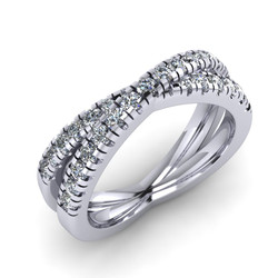 "Micro Claw ""X"" Diamond Wedding Band"