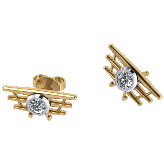 ER Triplane diamond earrings yellow gold Madden 1 ER YG 1b