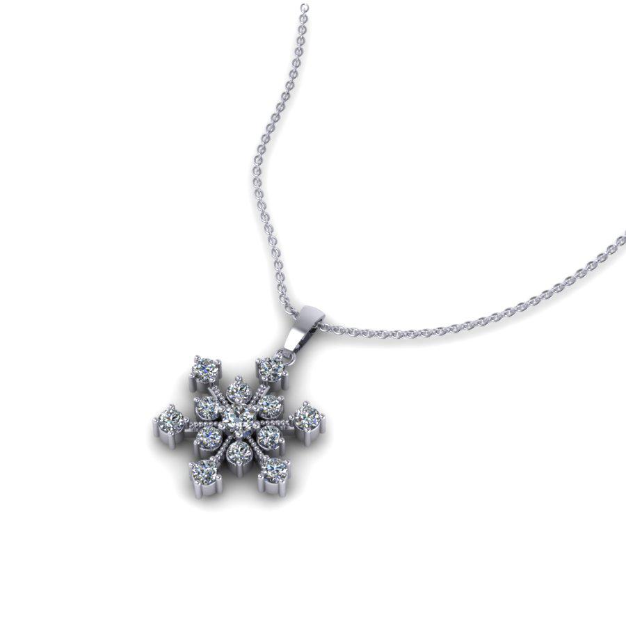 PT 1070 Snowflake diamond pendant platinum white gold PT 1070 WG 2