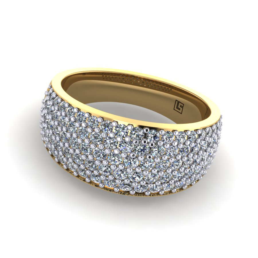 Yellow Gold Pavé Set Wedding Ring