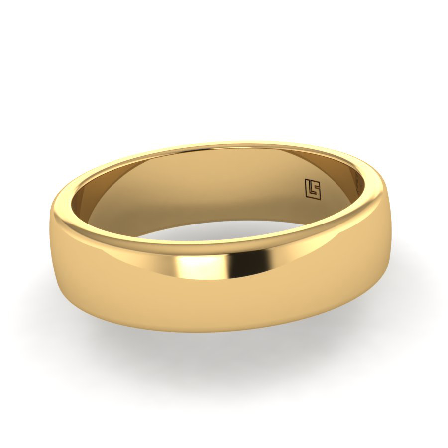 Yellow Gold Flat Profile Rolled Edge
