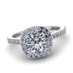 round brilliant cut claw set centre  micro claw diamond cluster engagement ring platinum white gold