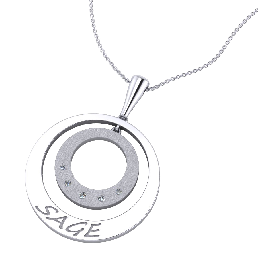 "White gold ""Sage"" Diamond Pendant"