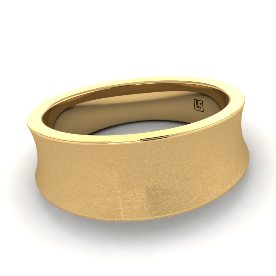 Yellow Gold Tapered Concave Band
