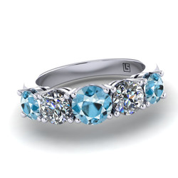 038 GR aquamarine & diamond 5 stone claw setting platinum white gold 038 WG 5