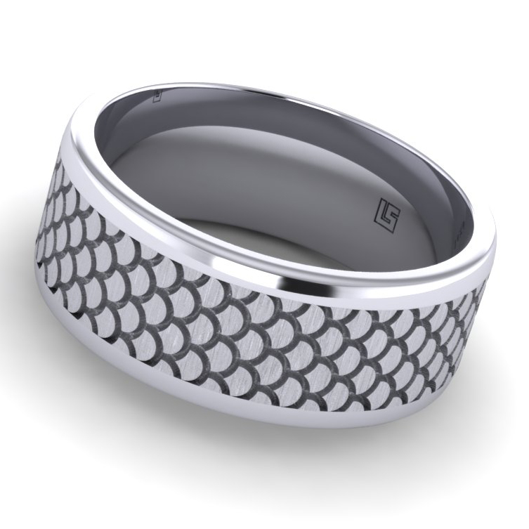 """Titanium Band with """"Shell"""" Pattern"""