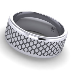 "Titanium Band with ""Shell"" Pattern"