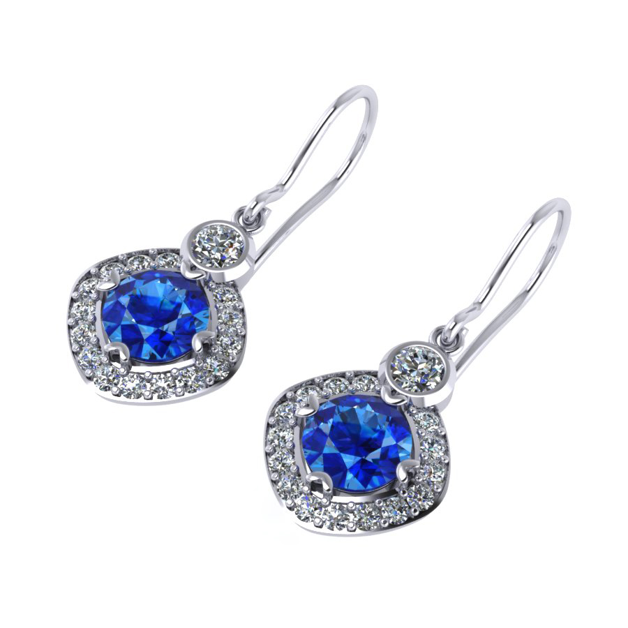 ER drop earrings articulated Ceylon sapphire & diamond platinum white gold Gonano ER 10-2
