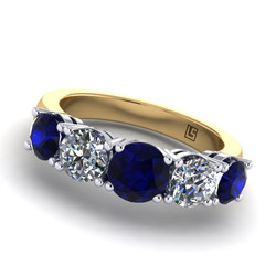 038 GR Australian sapphire & diamond 5 stone claw setting yellow gold 038 YG 5