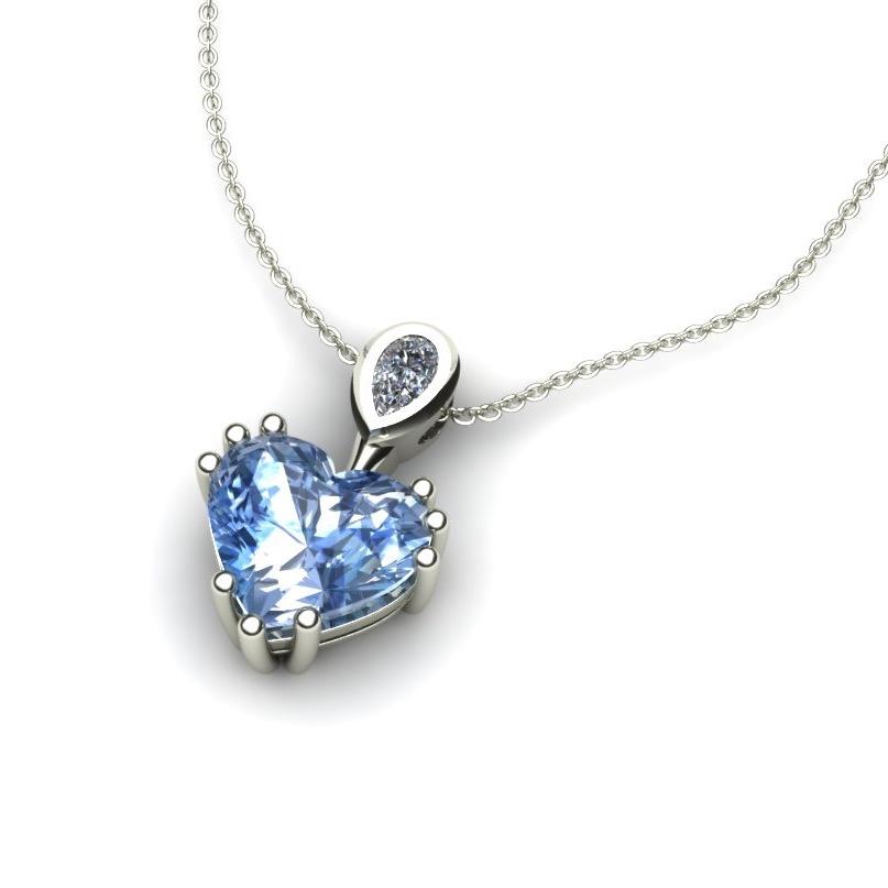 Heart Sapphire anf Pear Cut Diamond