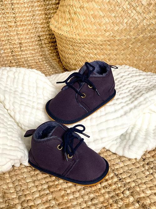 Les boots fourrées, coloris bleu nuit