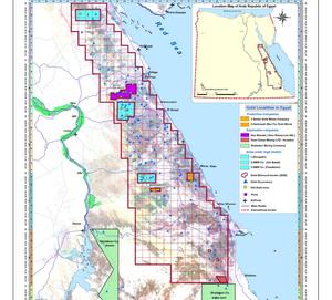 خريطة المناطق المعروضة في مزايدة الحكومة المصرية للتنقيب عن الذهب