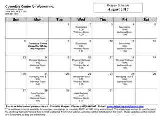 August Program Schedule
