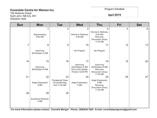 April Program Schedule