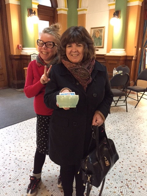 Pictured here is Alison Gayton and a customer who purchased one of the bowls at the most recent event on October 28th, 2016