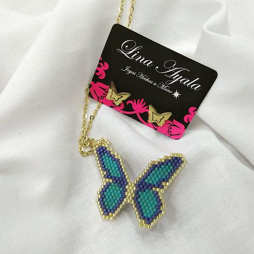 Mariposa tejida en Delica Miyuki - Herrajeria en acero.