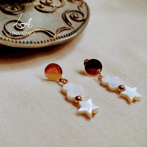 Aretes Estrella y Corazón Nacar