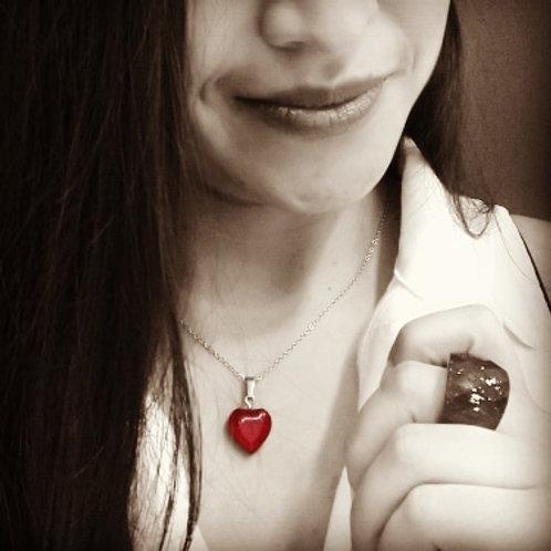 Cadena con Dije corazón (Piedra Agata)