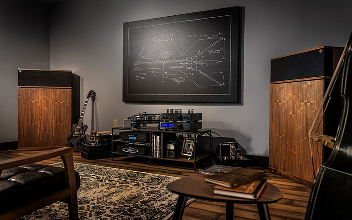 HiFi Stereo Speakers and Tube Amplifier and Turntable