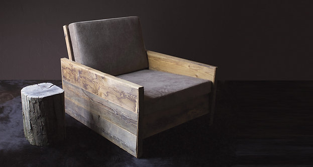 Poltrona legno ed ecopelle