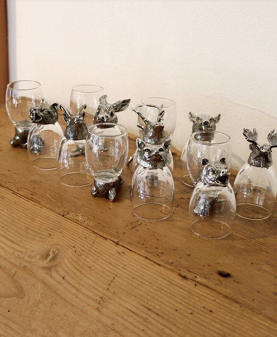 Bicchieri grappa- animali peltro