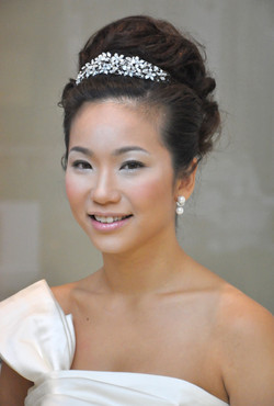 Elegant bridal makeup hair styling