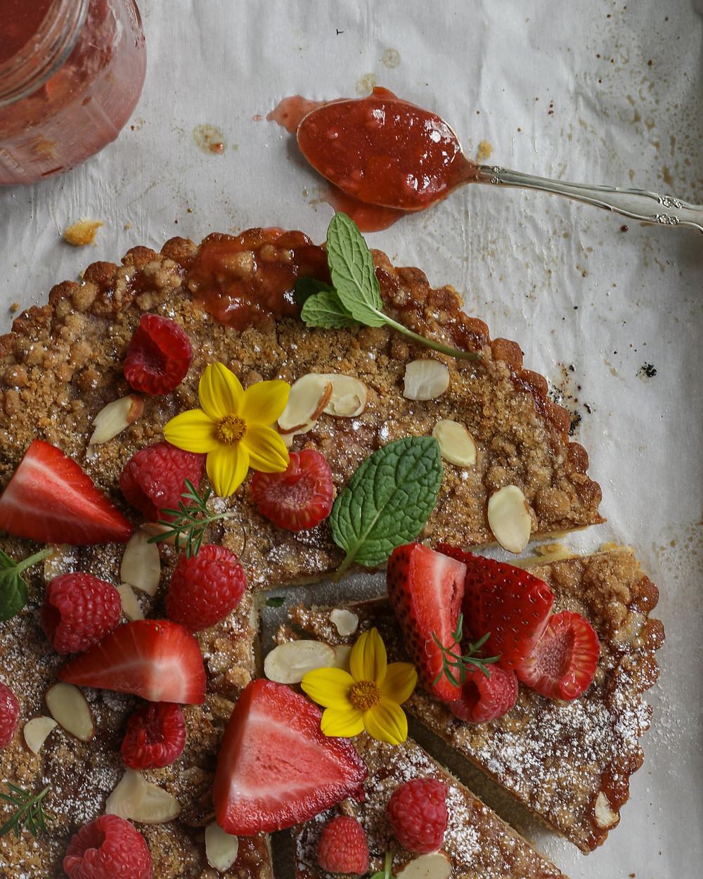 Berry Rhubarb Crumb Cake