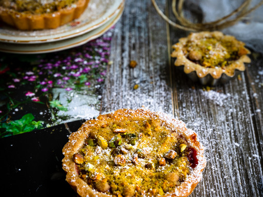 PLUM AND PISTACHIO CRUMB TART