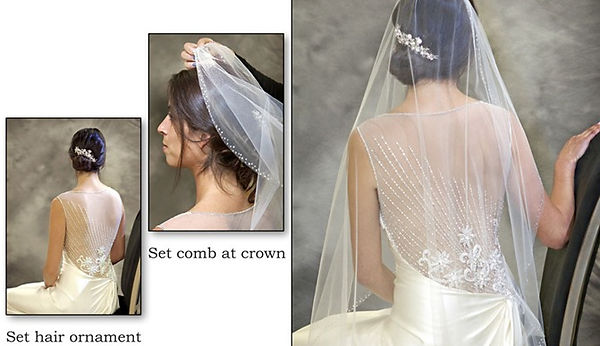 Photographs of the three main steps of pinning on a bridal veil, photos by Tracey Attlee