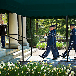 Air Force Honor Guards, spring, Old Post Chapel, Ft. Myer photo by Tracey Attlee