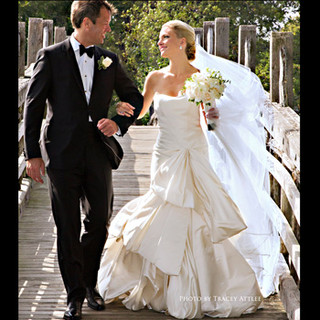 Bridal Couple in Summer Wind, historic Divine Park bridge, Spring Lake, NJ photo by Tracey Attlee