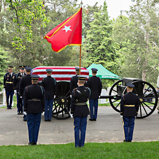 Flying the Brigadier General's Colors, Arlington Cemetery, photo by Tracey Attlee
