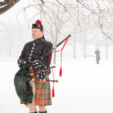Bagpiper and Bugler in Snow, photo by Tracey Attlee
