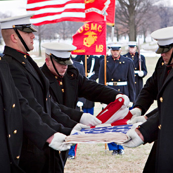 US Marines in Winter Wind at Arlington Cemetery, photo by Tracey Attlee