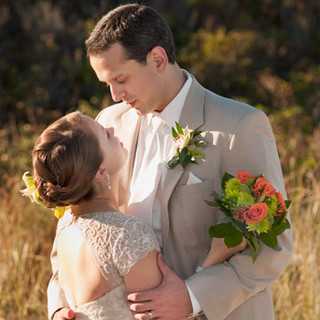 Newly married couple in autumn light, Spring Lake beachfront, Spring Lake, NJ photo Tracey Attlee