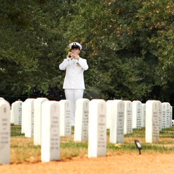 Navy Bugler Playing Taps at Arlington Cemetery, photo by Tracey Attlee