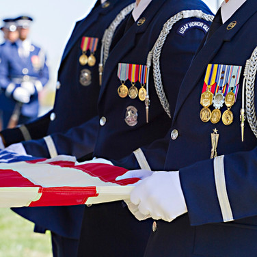 Arlington Cemetery USAF Full Honors Ceremony vignette with flag, photo by Tracey Attlee