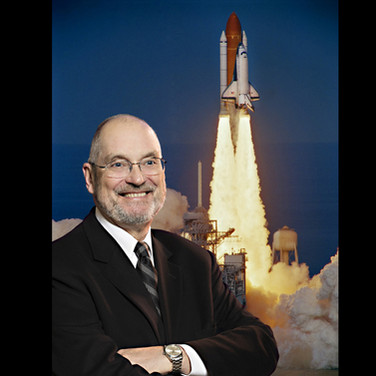 Commemorative executive portrait with the Space Shuttle, photos and composite by Tracey Attlee