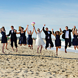 Wedding Party Jump, Breakers Beach, Spring Lake, NJ photo by Tracey Attlee