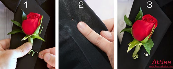 Photos of the three main steps of pinning on a gentleman's boutonniere, photos by Tracey Attlee