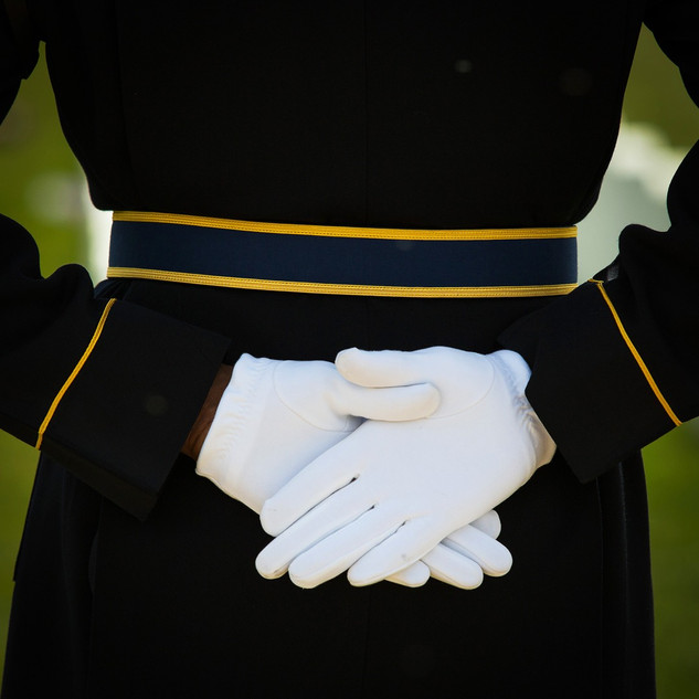 Gloved Hands at Army Honors Ceremony, Arlington Cemetery, photo Tracey Attlee