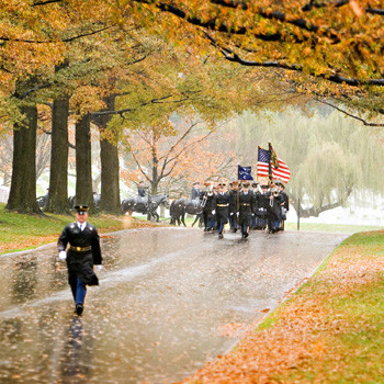 Army Full Honors in Autumn Rain, Arlington Cemetery, photo by Tracey Attlee