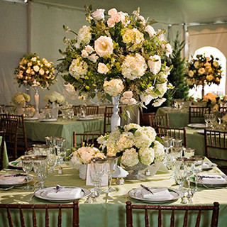 The florals of Jack Lucky at a home wedding reception, photo by Tracey Attlee