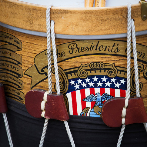 The President's Own drum at a military funeral in Arlington Cemetery, photo by Tracey Attlee